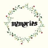 De Kaart van de groet met bloemen Hand het schilderen inschrijving geheugen stock illustratie