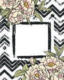 De Kaart van de groet met bloemen Vectorhand het schilderen illustratie Stock Afbeeldingen