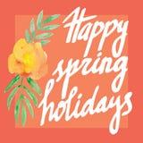 De Kaart van de groet met bloemen watercolor Hand het schilderen inschrijving De gelukkige vakantie van Pasen en van de lente stock illustratie