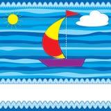 De kaart van de groet met boot Royalty-vrije Stock Afbeelding