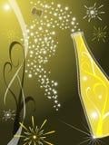 De kaart van de groet met champagne Stock Foto
