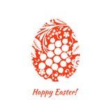 De kaart van de groet met een gelukkige Pasen Het ei is geschilderd met een flo stock foto