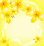 De kaart van de groet met een vakantie van gele bloemen stock afbeelding