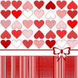 De kaart van de groet met gestileerde harten stock illustratie