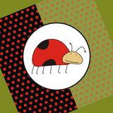 De kaart van de groet met grappig lieveheersbeestje Stock Fotografie