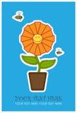 De kaart van de groet met grappige bloem en bij. Stock Afbeeldingen