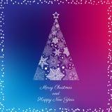 De kaart van de groet met Kerstmisboom Stock Afbeelding