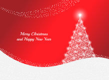 De kaart van de groet met Kerstmisboom Stock Afbeeldingen