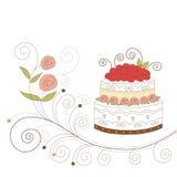 De kaart van de groet met leuke cake Stock Afbeeldingen