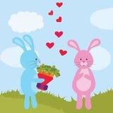 De kaart van de groet met leuke konijnen De dag van de valentijnskaart `s Stock Foto's