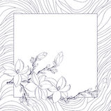 De kaart van de groet met magnoliabloemen Stock Afbeelding