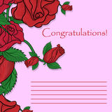 De kaart van de groet met rozen Royalty-vrije Stock Afbeeldingen