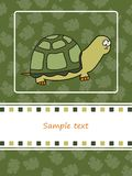 De kaart van de groet met schildpad Stock Foto