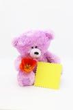 De Kaart van de groet met Teddybeer stock afbeeldingen