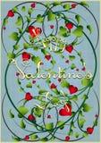 De kaart van de groet met tot bloei komende harten Royalty-vrije Stock Foto's