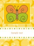 De kaart van de groet met vlinder Stock Afbeeldingen