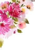 De kaart van de groet met waterverfbloemen Royalty-vrije Stock Foto's