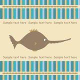 De kaart van de groet met zwaardvissen Stock Foto's