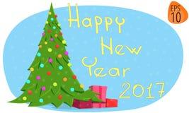 De kaart van de groet Nieuw jaar 2017 de Kerstboom van het illustratiebeeld Stock Afbeeldingen