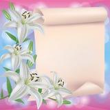 De kaart van de groet of van de uitnodiging met lelie bloeit Royalty-vrije Stock Foto's