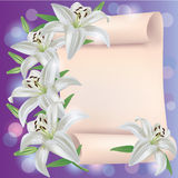 De kaart van de groet of van de uitnodiging met leliebloemen stock illustratie