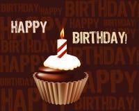 De kaart van de Groet van de verjaardag cupcake Stock Afbeelding
