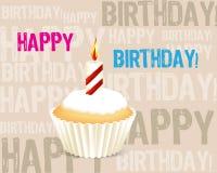 De kaart van de Groet van de verjaardag cupcake Stock Fotografie
