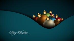 De Kaart van de Groet van Kerstmis met Kleurrijke Bollen Stock Afbeeldingen