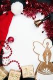 De kaart van de Groet van Kerstmis met ruimte voor tekst, Stock Afbeeldingen