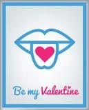 De kaart van de groet voor de Dag van de Valentijnskaart Stock Foto