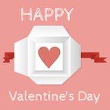 De kaart van de groet voor de Dag van de Valentijnskaart Hart in een open giftdoos - hoogste mening Royalty-vrije Stock Foto's