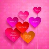 De kaart van de groet voor de Dag van de Valentijnskaart Reeks harten Stock Foto's