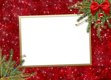 De kaart van de groet voor de vakantie, met een rood lint Stock Foto's