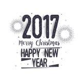 De kaart van de groet voor Kerstmis en nieuw jaar Stock Afbeelding
