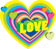De kaart van de heldere Valentijnskaart met harten Stock Afbeeldingen