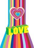 De kaart van de heldere Valentijnskaart met harten Stock Foto's