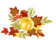 De kaart van de herfst met pompoen en esdoorn doorbladert Royalty-vrije Stock Foto's