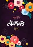 De Kaart van de het BORDgroet van de moeder` s Dag Confettien en Rose Floral Background Stock Foto's