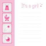 De kaart van de het meisjesaankomst van de baby Stock Afbeeldingen