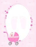 De kaart van de het meisjesaankomst van de baby Stock Afbeelding