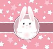 De kaart van de het meisjesaankomst van het konijntje Royalty-vrije Stock Afbeeldingen