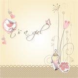 De kaart van de het meisjesaankondiging van de baby Royalty-vrije Stock Foto's