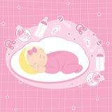 De kaart van de het meisjesaankondiging van de baby Royalty-vrije Stock Fotografie