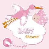 De kaart van de het meisjesaankondiging van de baby Stock Fotografie