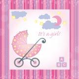 De kaart van de het meisjesgeboorte van de baby Royalty-vrije Stock Fotografie