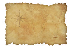 De kaart van de het perkamentschat van piraten wordt geïsoleerd die met Stock Foto
