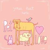 De kaart van de huisdierenliefde, vectorillustratie Royalty-vrije Stock Fotografie
