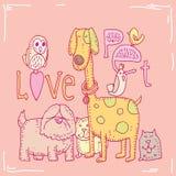De kaart van de huisdierenliefde, vectorillustratie Stock Fotografie