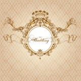 De kaart van de huwelijksuitnodiging in luxe uitstekende stijl Royalty-vrije Stock Afbeelding