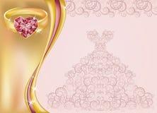 De kaart van de huwelijksuitnodiging met bruidkleding en golde Stock Afbeeldingen